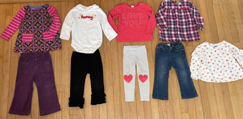9 Piece Mixed Lot Girls Size 2t Fall/ Winter Clothes