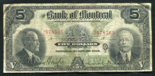 1923 $5 THE BANK OF MONTREAL MONTREAL, PQ BANKNOTE CH. #505-56-02 (B)
