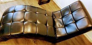 Black leather chaise/lounge chair