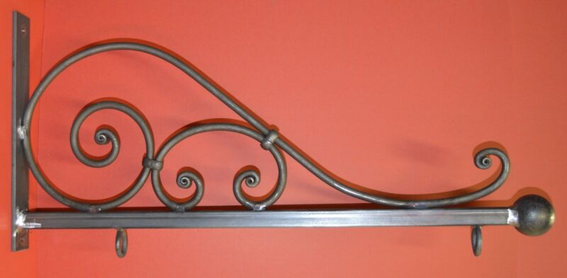 Sign Bracket Holder, Wrought Iron Scroll, 31 in., by Worthington Forge in USA