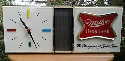 Vtg MILLER HIGH LIFE CLOCK Beer Motion Lighted Bar Man cave Sign 1960s Works