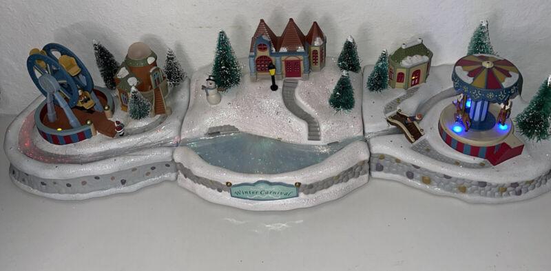 Avon Winter Carnival 3-Pc Fiber Optic Christmas Ferris Wheel/Pond/Carousel READ