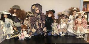 Poupées en porcelaine (lot de 12 poupées)