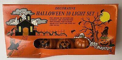 Vintage Halloween String Lights Pumpkin Jack o Lantern 10 Blow Mold New in Box