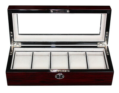 5 CHERRY WOOD ROSEWOOD LACQUER WATCH DISPLAY CASE GLASS TOP STORAGE BOX GIFT MEN ()