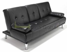 **14-DAY MONEY BACK GUARANTEE!**- Black Brown Red Cream Manhattan Premium Leather Sofabed Sofa Bed