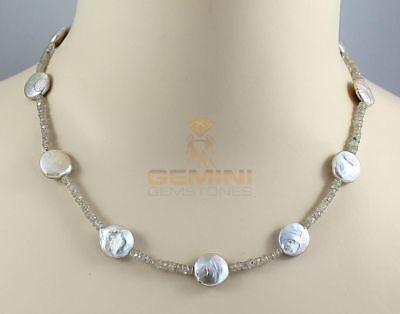 Zirkon Kette beiger Zirkon facettiert mit Perlen Halskette für Damen 46 cm