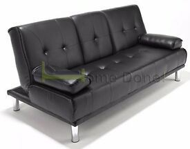 **7-DAY MONEY BACK GUARANTEE!**- Manhattan Click Clack Leather Sofa Bed Sofabed -DELIVERED SAME DAY!