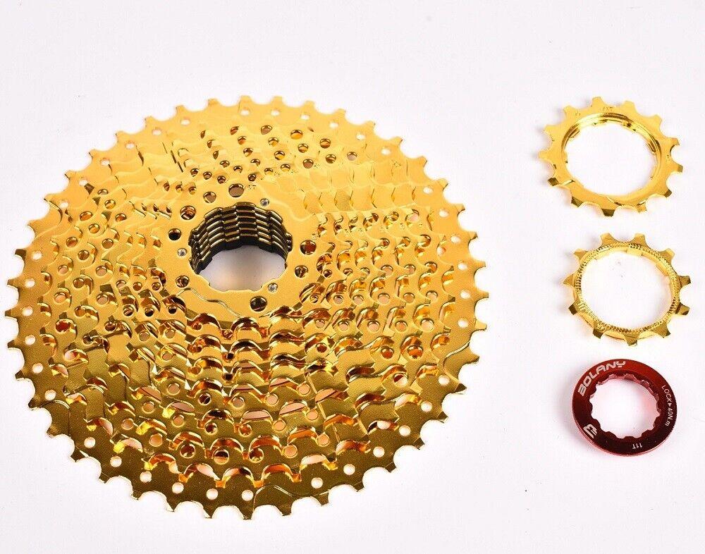 BOLANY MTB 9 Speed Cassette Steel Plate 11-42T Mountain Bike Flywheel Gold+Black