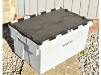 Large heavy duty plastic stackable storage crate 70L crocodile lid box; removal, tools, commercial