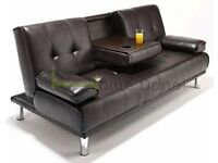 **7-DAY MONEY BACK GUARANTEE!**- Manhattan Click Clack Leather Sofabed Sofa Bed -SAME DAY!