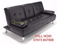 Comfy Manhattan Leather Sofa Bed Sofabed with Cupholder