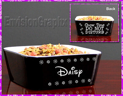 Custom Personalized Engraved Black Ceramic Pet Dog Bowl Daisy Design Great Gift