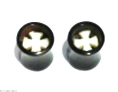 Bone Inlay Body Jewelry Tunnels - PAIR-Horn w/Iron Cross Bone Inlay Saddle Flare Ear Tunnels 08mm/0 Gauge Body Jew