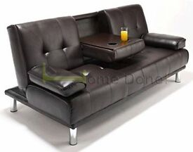 *14-DAY MONEY BACK GUARANTEE!**- Manhattan Click Clack Leather Sofa Bed Sofabed - SAME DAY DELIVERY!