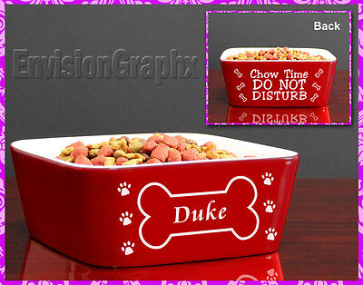 Custom Personalized Engraved Red Ceramic Pet Dog Bowl Bone Design Great Gift