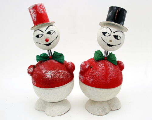 PAIR OF VINTAGE CHRISTMAS PAPER MACHE NODDER SNOWMAN CANDY CONTAINERS