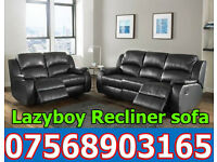 SOFA HOT OFFER BRAND NEW recliner black real leather 79566