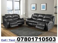 BRAND NEW LEATHER RECLINER SOFA AVAILABLE IN BLACK - FAST DELIVERY