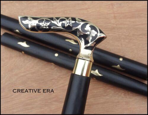 Antique Brass Victorian Handle Wooden Vintage Style Designer Walking Stick Cane