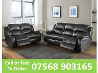 SOFA HOT OFFER BRAND NEW recliner black real leather 62220