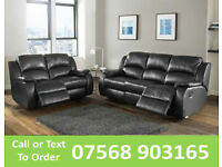 SOFA HOT OFFER BRAND NEW recliner black real leather 42166