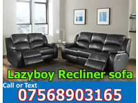 SOFA HOT OFFER BRAND NEW recliner black real leather 177