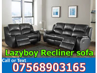 SOFA HOT OFFER BRAND NEW recliner black real leather 44615