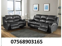 sofa recliner sofa black real leather BRAND NEW