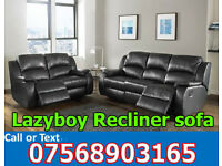 SOFA HOT OFFER BRAND NEW recliner black real leather 49213