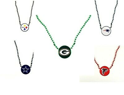 NFL football team Mardi Gras bead necklace  team logo medallion- pick your team](Football Bead Necklace)