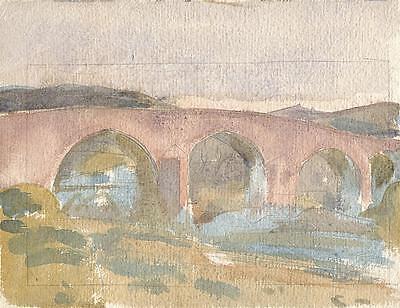 MEDIEVAL BRIDGE Painting c1930 WALTER SICKERT Pupil FRANK GRIFFITH