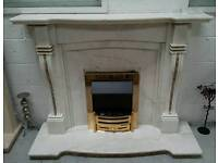 solid marble fire surround with marble backing & Harth & electric fire can deliver 07808222995