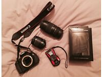 Canon 600D w/18-55 mm lens kit + Pentax action camera and accessories