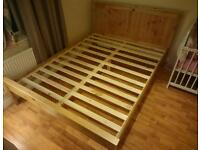 Solid pine king size bed with 3 old mattress in excellent condition