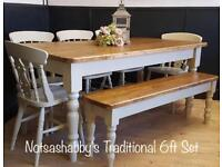 STUNNING SOLID NEW HANDMADE PINE FARMHOUSE TABLE BENCH AND CHAIRS