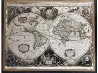 Linen World Map wall art
