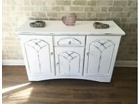 Shabby chic lovely detailed sideboard with crystal handles