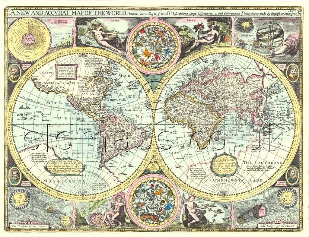 WORLD Map Replica Old 17c John Speed  ALL HAND COLOURED A UNIQUE GIFT IDEA!