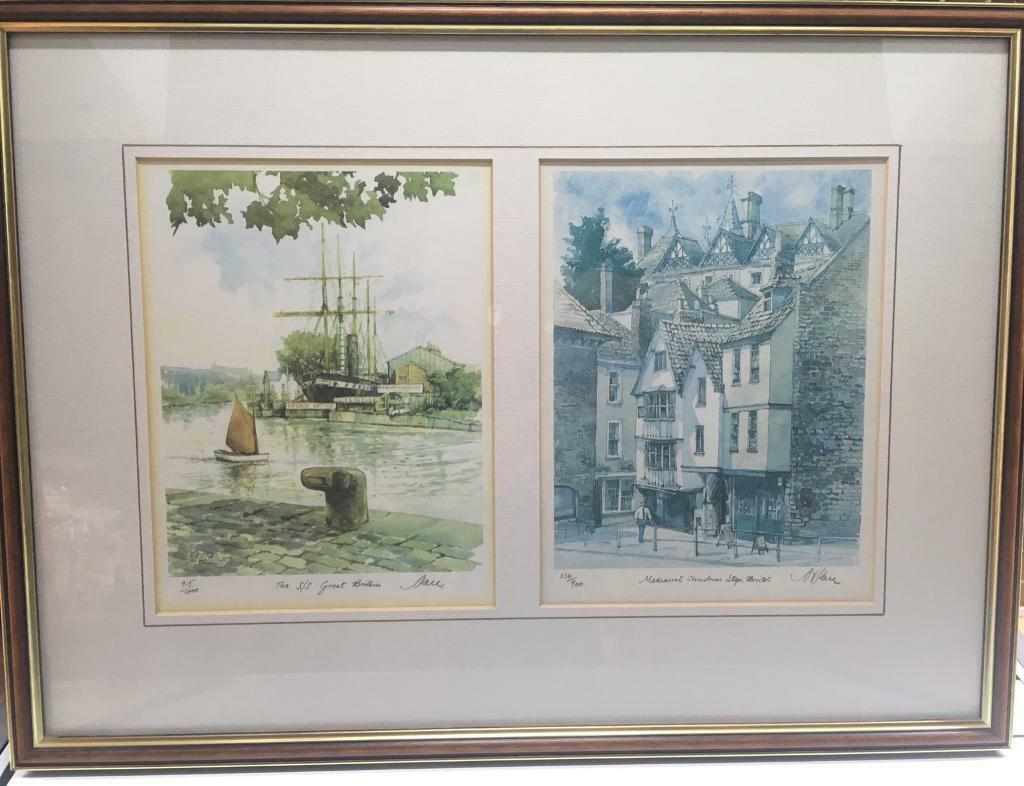 Bristol artist AV Pace watercolour limited edition framed print SS Great Britain Christmas Steps