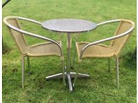 Aluminium table and 2 chairs