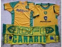 2 Norwich City Home Xara Football Shirts & 2 Scarfs