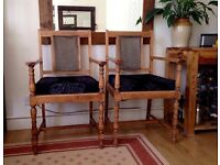 2 ANTIQUE VINTAGE WOODEN DINING CHAIRS ARMCHAIRS £50 o.n.o