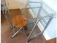Contemporary Very Stylish Computer Desk with Folding Chair