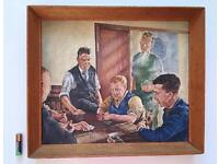 Vintage Oil Painting 'Dominoes In The Club' Northern School Framed