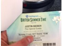 2 x Justin Bieber British Summer Time Hyde Park London 2nd July