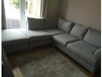 Pale Blue, DFS capsule collection, 4 seater corner sofa with matching footstool