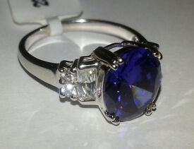 Ladies Sterling Silver Tanzanite Colour Cubic Zirconia Ring 925 CZ various sizes available