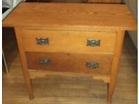 ARTS AND CRAFTS SOLID OAK CHEST OF 2 DRAWERS SIDEBOARD VINTAGE