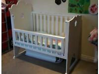 Jacadi cot, matching baby changing table,shelf and toddler bed.